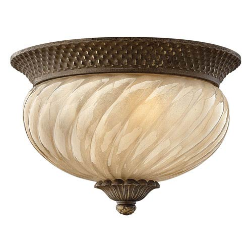 Fleur Pearl Bronze Two-Light Outdoor Flush Moutn with Amber Glass