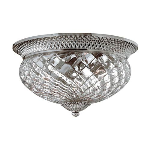 Fleur Polished Antique Nickel Three-Light Flush Mount