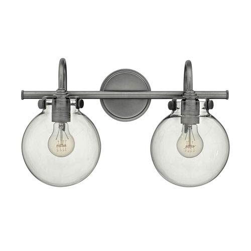 Irving Antique Nickel Two-Light Vanity with Glass Globe Shade