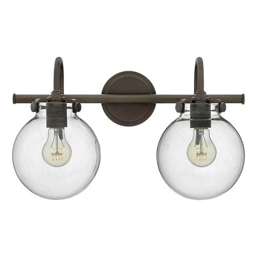 Irving Rubbed Bronze Two-Light Vanity with Glass Globe Shade