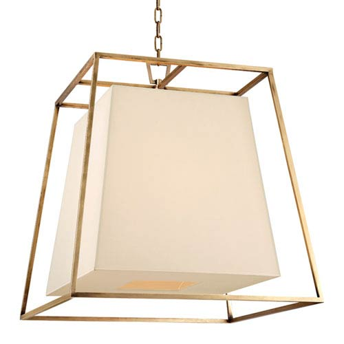 Elrington Aged Brass Six-Light Lantern Pendant with Cream Shade