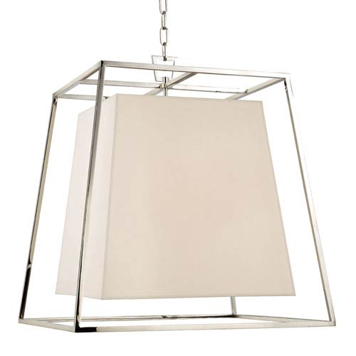 Elrington Polished Nickel 24-Inch Four-Light Lantern Pendant with White Faux Silk Shade