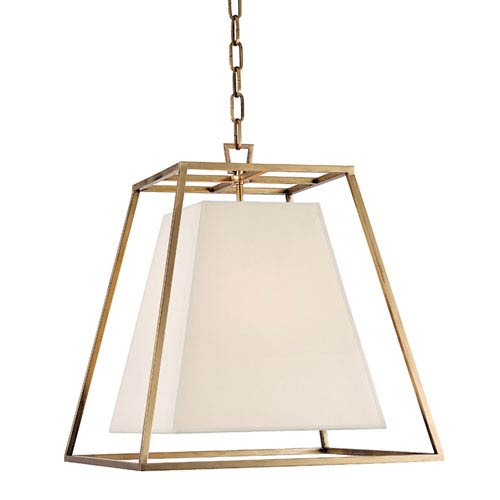 Elrington Aged Brass 17-Inch Four-Light Lantern Pendant with White Faux Silk Shade