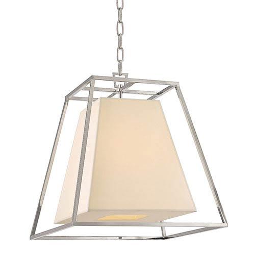 Mill & Mason Elrington Polished Nickel Four-Light Lantern Pendant with Cream Shade