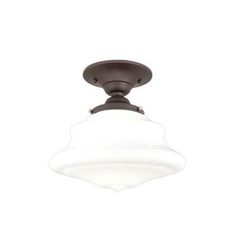 Bingham Old Bronze Nine-Inch One-Light Schoolhouse Semi-Flush Mount