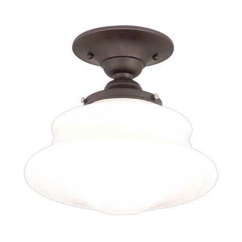 Bingham Old Bronze 16-Inch One-Light Schoolhouse Semi-Flush Mount