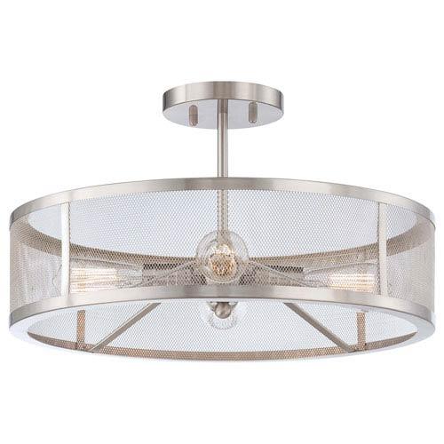 Carlton Brushed Nickel Four-Light Drum Semi-Flush Mount