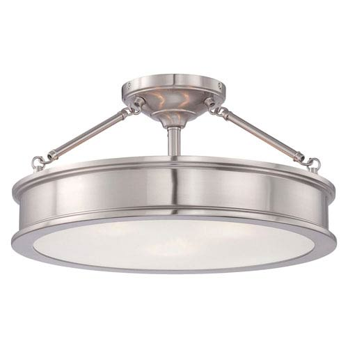 Bridgewater Brushed Nickel Three-Light Drum Semi-Flush Mount