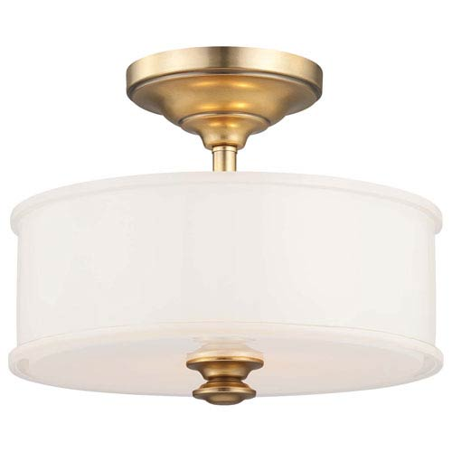 Bridgewater Gold Two-Light Drum Semi-Flush Mount