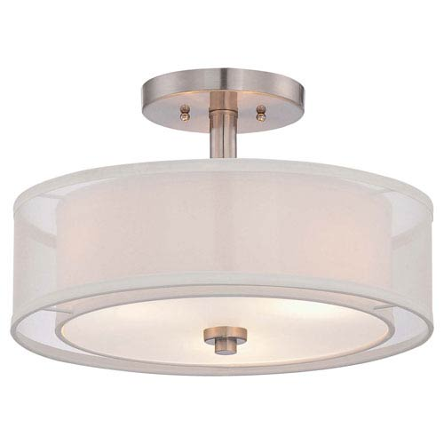 Harrow Brushed Nickel Three-Light Drum Semi-Flush Mount