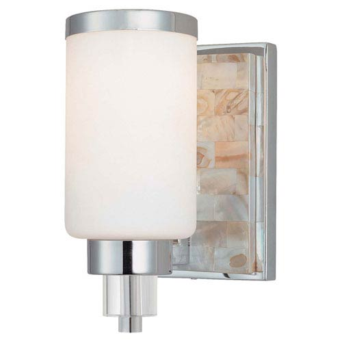 Long Beach Chrome and Natural Shell One-Light Bath Sconce