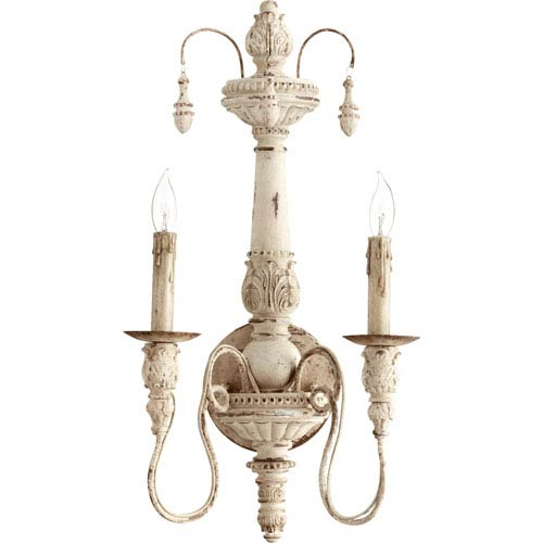 Bouverie French White 22-Inch Two-Light Wall Sconce