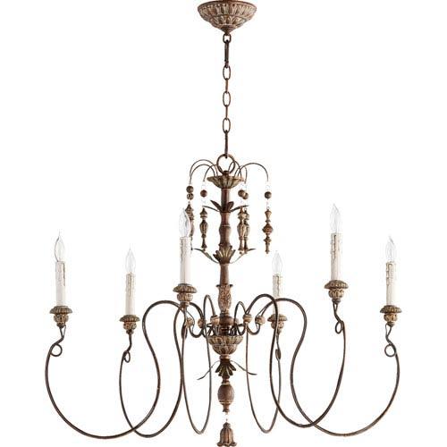 Bouverie Vintage Copper 32-Inch Six-Light Chandelier