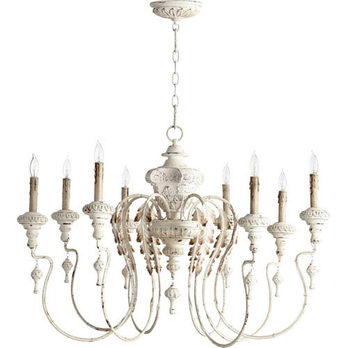 Bouverie French White 24-Inch Eight-Light Chandelier