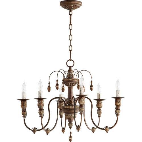 Bouverie Vintage Copper 25-Inch Six-Light Chandelier