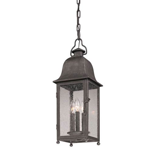 Jefferson Aged Pewter Three-Light Outdoor Lantern Pendant