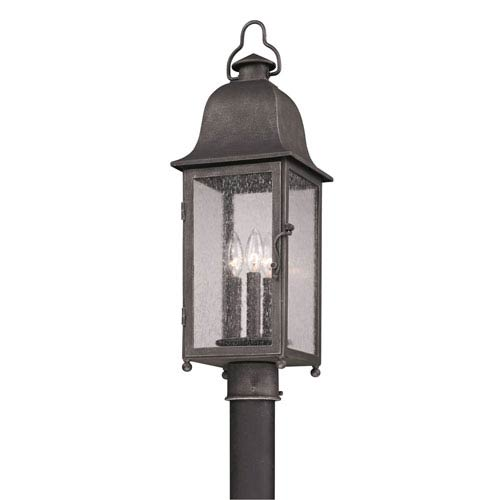 Jefferson Aged Pewter Three-Light Outdoor Post Mount
