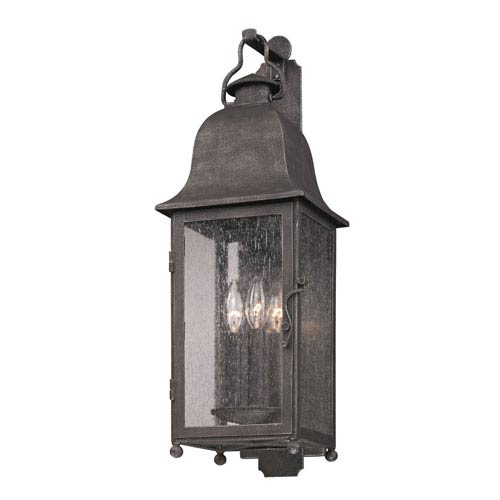 Jefferson Aged Pewter Three-Light Outdoor Wall Mount