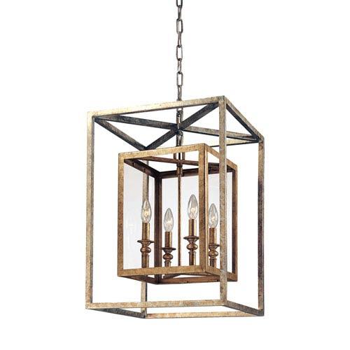 Warwick Gold Silver Leaf Four-Light Lantern Pendant