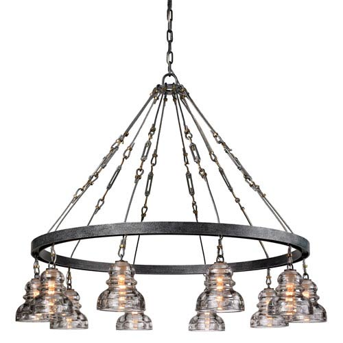 Sullivan Aged Pewter 10-Light Chandelier