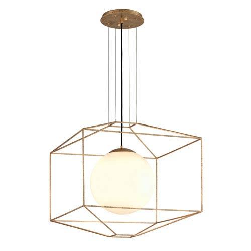 Wooster Gold Leaf 25-Inch One-Light Globe Lantern Pendant
