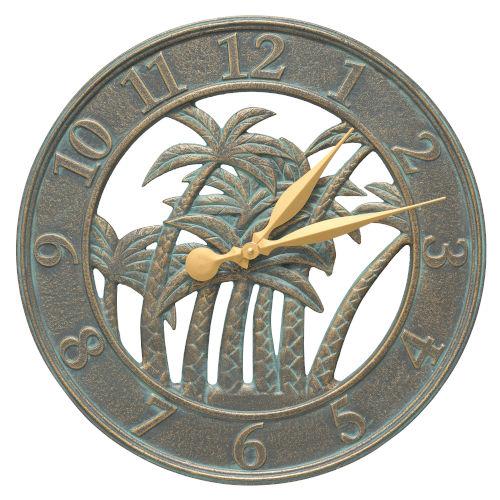 Nautical Bronze Verdigris Indoor Outdoor Palm Wall Clock