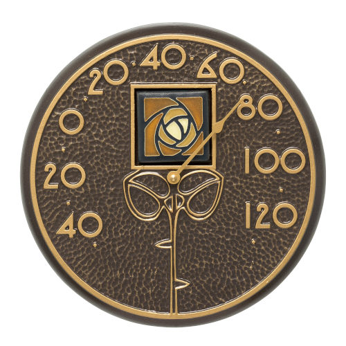 Amber Dard Hunter Rose French Bronze Indoor Outdoor Wall Thermometer