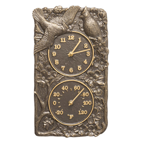 Cardinal French Bronze Indoor Outdoor Wall Clock and Thermometer