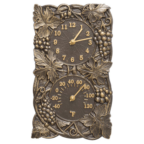 Grapevine French Bronze Indoor Outdoor Wall Clock and Thermometer