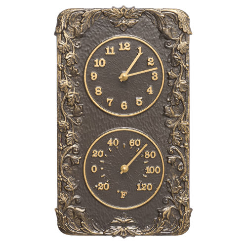 Acanthus French Bronze Indoor Outdoor Wall Clock and Thermometer
