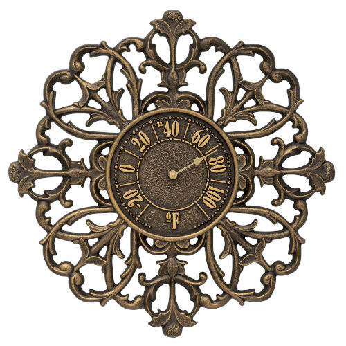 Filigree French Bronze Indoor Outdoor Wall Thermometer
