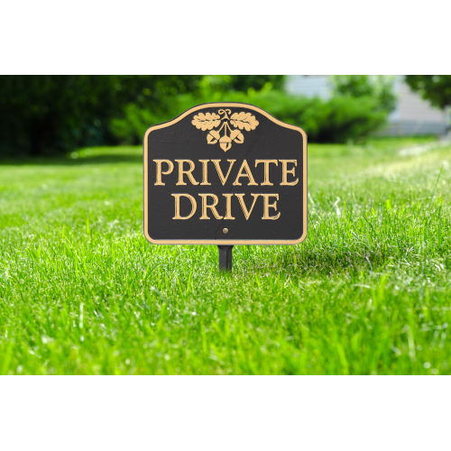 Black Gold Private Drive Sign  Cast Aluminum Wall or Lawn Mounting