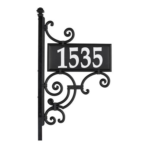 Nite Bright Black White Ironwork Reflective Address Post Sign
