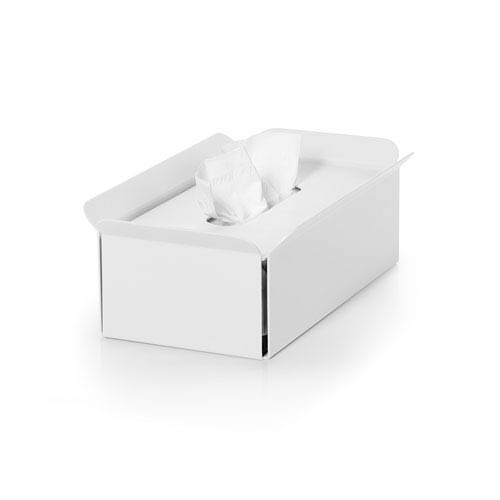WS Bath Collections Complements White Bathroom Tissue Box Holder