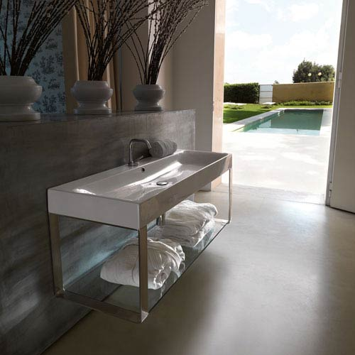 WS Bath Collections Kerasan White and Polished Chrome Bathroom Sink with One Hole Faucet