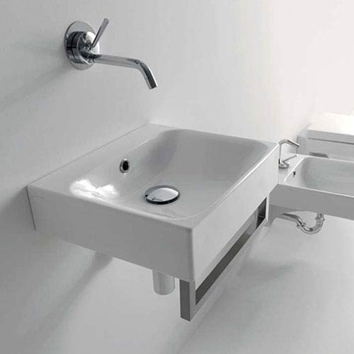 Kerasan White Bathroom Sink with One Hole Faucet - Sink Only
