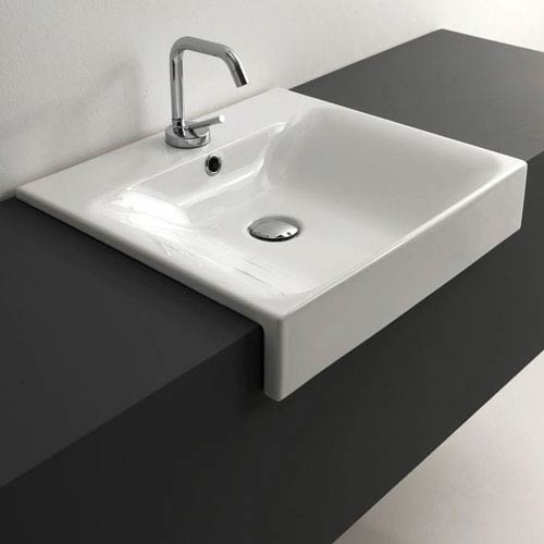 Kerasan White Bathroom Sink with One Hole Faucet - Sink Only, Width 19.7 Inch