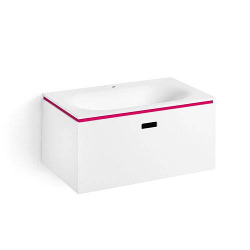 Linea White and Fuchsia Bathroom Vanity