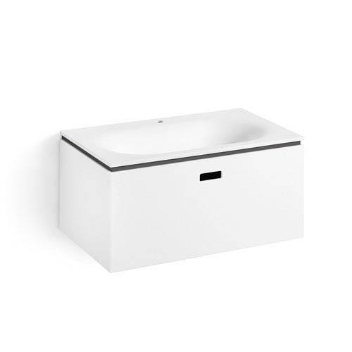 WS Bath Collections Linea White and Dark Grey Bathroom Vanity