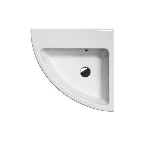 WS Bath Collections Community Corner Ceramic White Wall Mount or Countertop Bath Sink without Faucet Hole