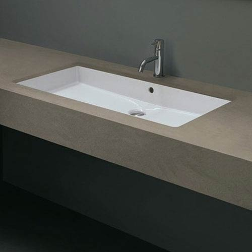 WS Bath Collections Ceramica Valdama White Bathroom Under-Mounted Sink