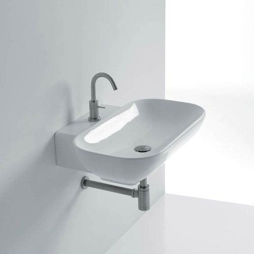 Ciotola Wall Mounted / Vessel Bathroom Sink in Ceramic White