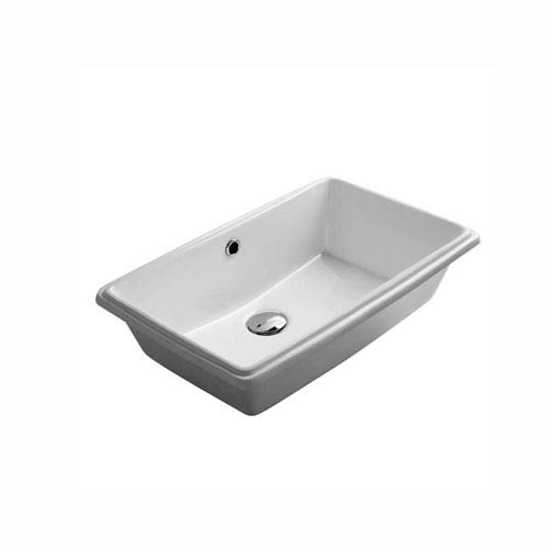 WS Bath Collections City Rectangular Undermounted Bathroom Sink in Ceramic White