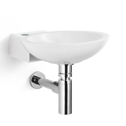 Linea Stainless Steel and White Wall Mounted Bathroom Sink