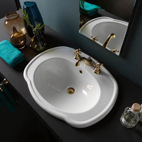 WS Bath Collections Contea 67 Drop-in Bathroom Sink in Ceramic White