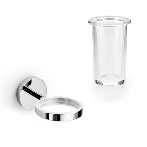 Duemila Chrome Wall Mounted Toothbrush Holder with Clear Glass Tumbler