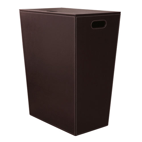 Ws Bath Collections Ecopelle 2463 Dark Brown Hamper W Internal Bag And Lid