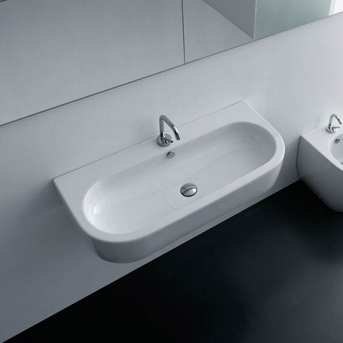WS Bath Collections Kerasan White Bathroom Sink with One Hole Faucet