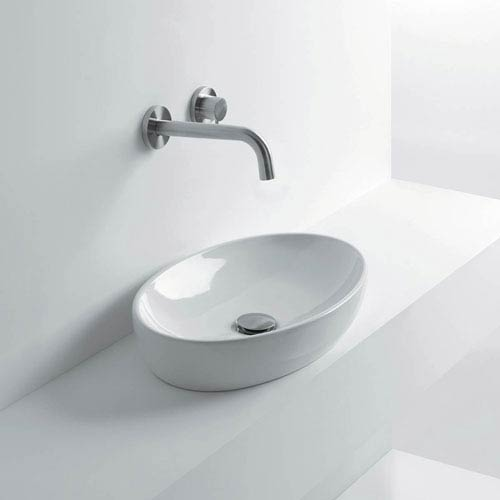 WS Bath Collections Oval Vessel Bathroom Sink in Ceramic White