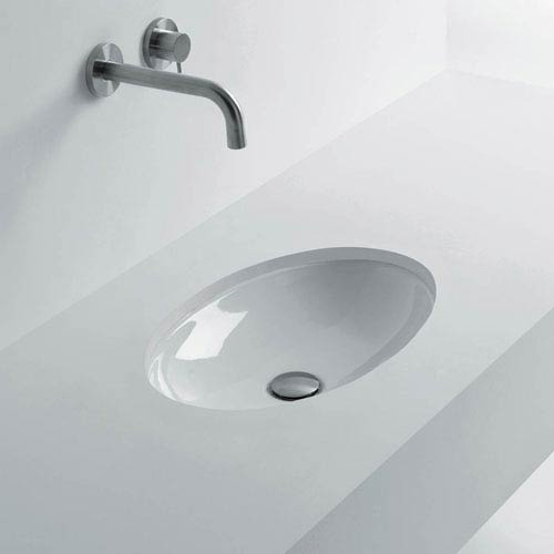 WS Bath Collections Oval Undermounted Bathroom Sink in Ceramic White